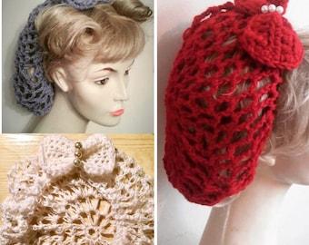 Banned Retro Dorothy 1940s Black Crochet Hair Snood Hair Net