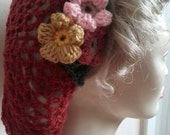 1940s Hairstyles- History of Women's Hairstyles Wartime  1940s snood vintage style handmade crochet flowers rust hairnet hat snood $22.14 AT vintagedancer.com