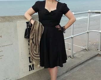 1940s dress, sizes 6-26, tea dress, dance, swing, wartime,ww2 dress, reproduction dress, vintage dress, black dress, plus size,1940s dress