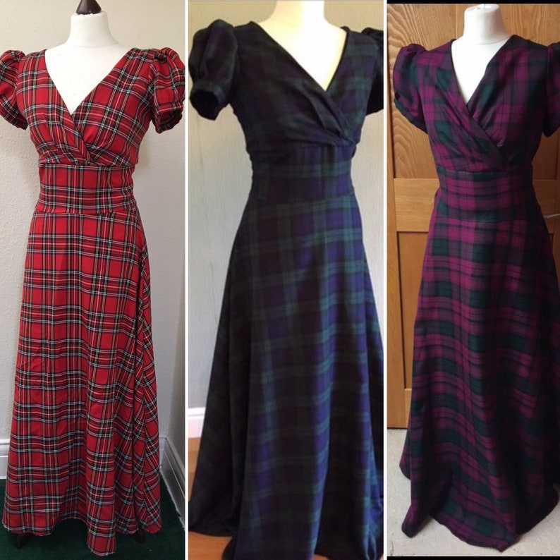 1940s Dresses | 40s Dress, Swing Dress, Tea Dresses Tartan dress Scottish dress sizes 6-26 Highland dance dressMaxi dressplaid dress lots of tartans $137.00 AT vintagedancer.com