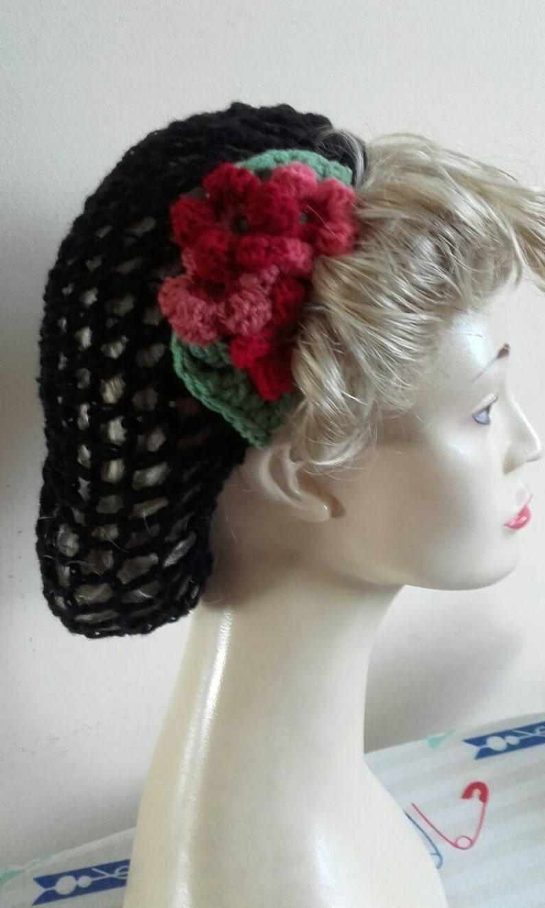 1940s Hairstyles- History of Women's Hairstyles Black snoodcrochet snood black hairnet 1940s hairnet hair flowers $17.82 AT vintagedancer.com