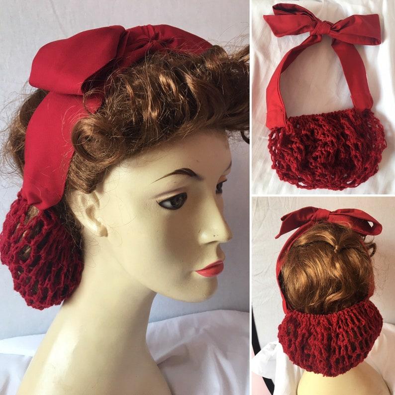 1940s Hair Snoods- Buy, Knit, Crochet or Sew a Snood     1940s hair snood tie snood hair net vintage accessory snood $21.46 AT vintagedancer.com