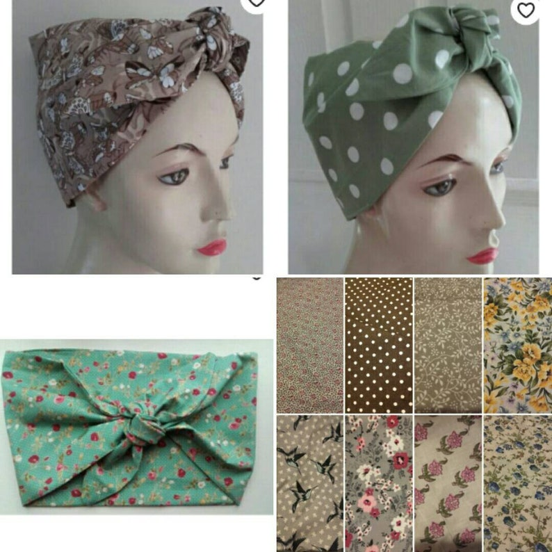 1940s Hairstyles- History of Women's Hairstyles 1950s headscarf Rosie the riviter hairretro scarf 1940s scarf Bandanna vintage head scarf turban $6.55 AT vintagedancer.com