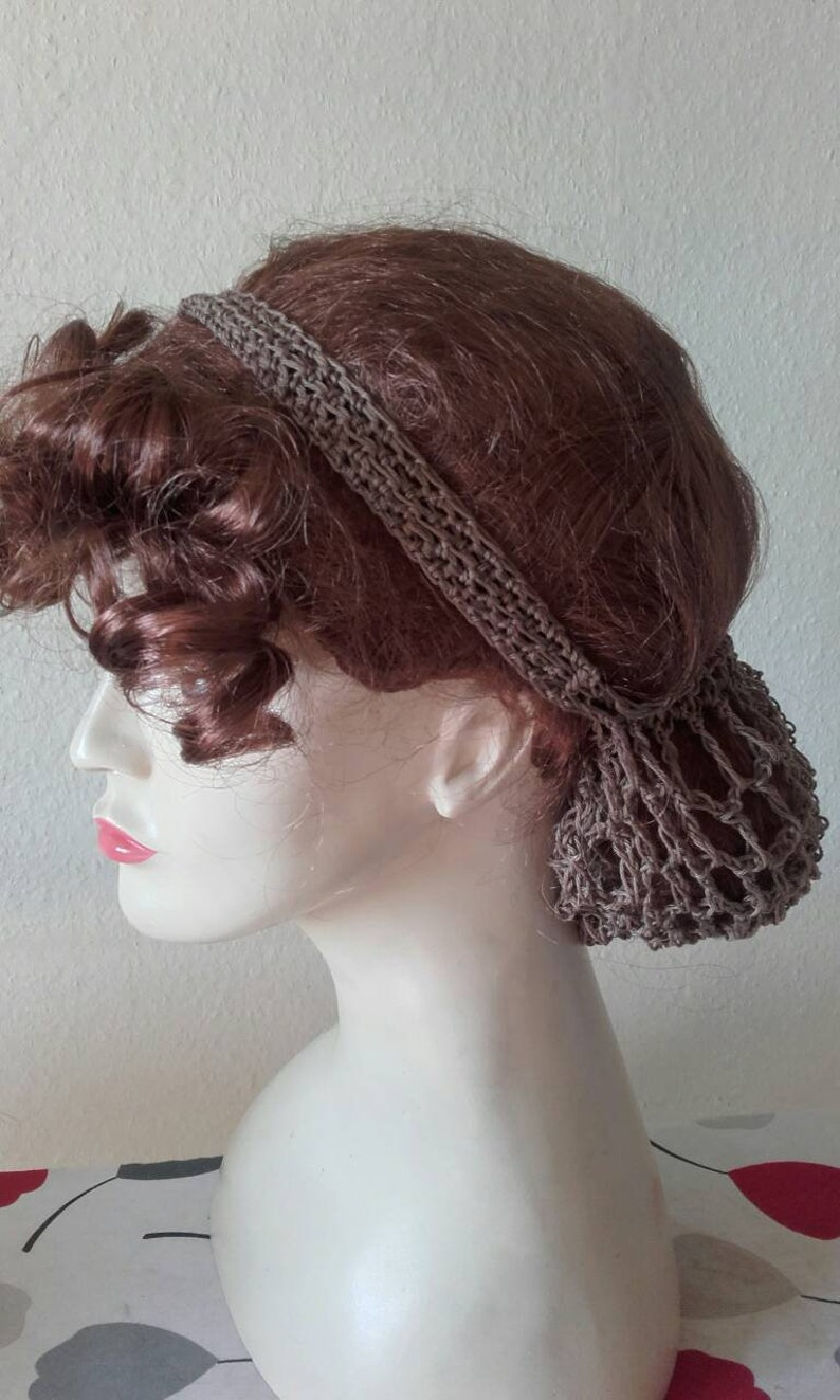 1940s Hairstyles- History of Women's Hairstyles 1940s half snoodcotton snoodcrochet snood hairnetvintage wedding $22.27 AT vintagedancer.com