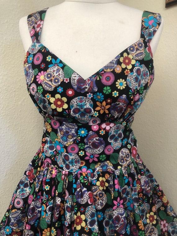 sundress READY NOW size 18 Day Of The Dead Halloween Dress /& face mask Goth dress 1950/'s dress Rockabilly dress Skater dress
