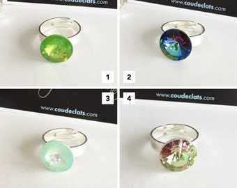 """Ring Silver 925 and Swarovski® - """"Reflections"""" #2 Selection"""