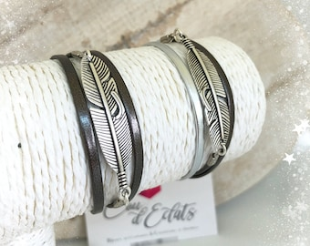 Bracelet feather Anthracite and silver