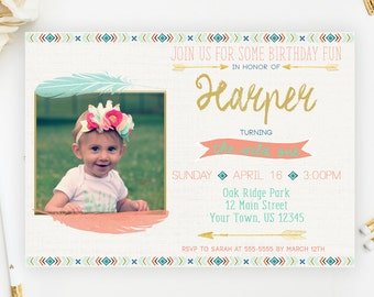 Wild One Birthday Invitation, Wild One, First Birthday, Tribal Birthday Invitation, Boho Invitation, Birthday Invitation, Printable, Photo