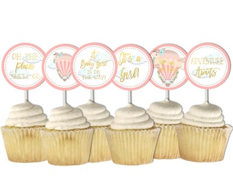 Hot Air Balloon Cupcake Toppers, Baby Shower, Baby Girl Shower, Printable Toppers, Pink Gold, Places You'll Go, Printable, Up up and away