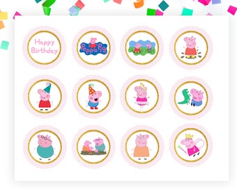Peppa Pig Cupcake Toppers, George, Peppa Pig Party, Stickers, Peppa Pig Birthday, Peppa Cupcake, Muddy Puddles, Pink Gold, Instant Download