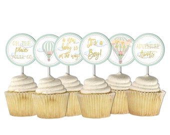 Hot Air Balloon Cupcake Toppers, Baby Shower, Gender Neutral, Printable Toppers, Mint Gold, The Places You'll Go, Printable, Up up and away