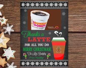 Teacher Appreciation Thanks A Latte Printable Teacher Gift Etsy