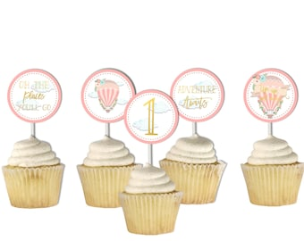 Hot Air Balloon Cupcake Toppers, First Birthday, Printable Toppers, Pink Gold, The Places You'll Go, Printable, Up up and away, Girl Party