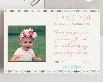 Wild One Thank You Card, Tribal Thank You Card, Photo Thank You Card, Feathers Arrows, Boho Thank You Card, Printable Thank You Card