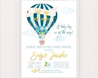 Hot Air Balloon Baby Shower Invitation Up up and Away Printable Up and Away Shower Invitation Baby Boy Teal Balloons Blue Baby Shower