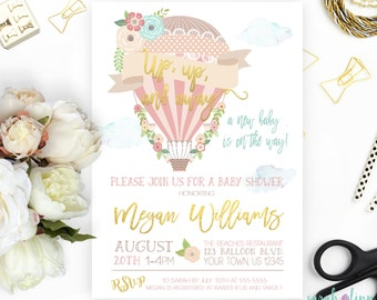 Hot Air Balloon Baby Shower Invitation Up up and Away Printable Up up and Away Baby Shower Invitation Girl Baby Shower Pink Baby Shower