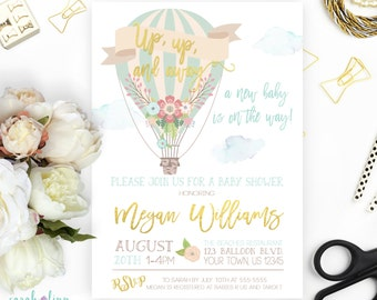 Hot Air Balloon Baby Shower Invitation Up up and Away Printable Up and Away Shower Invitation Gender Neutral Gold Mint Baby Shower