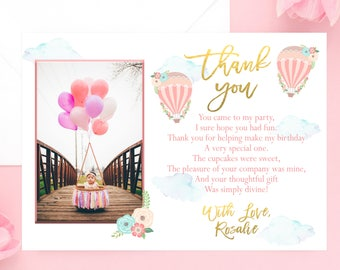 Hot Air Balloon Thank You Card, Balloon Party, Balloon Photo Thank You, Printable, First Birthday, Pink Gold, Up and Away, Places She'll Go