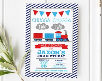 Chugga Chugga Two Two Train Second Birthday Invitation Train Birthday Party Invite Printable Choo Choo Boy Birthday Trains All Aboard