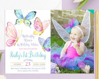 Butterfly Invitation Birthday Party Invite First 1st Printable Butterflies Photo Garden