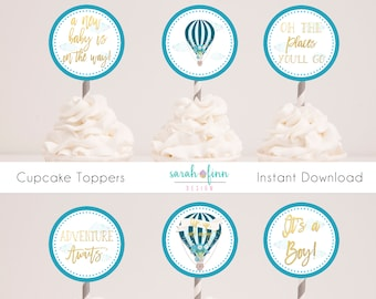 Hot Air Balloon Cupcake Toppers, Boy Baby Shower, Up and away, Teal Blue Gold, Printable, The Places You'll Go, Printable, Instant Download