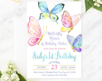 Butterfly Invitation Birthday Party Invite First Printable Butterflies Spring Garden