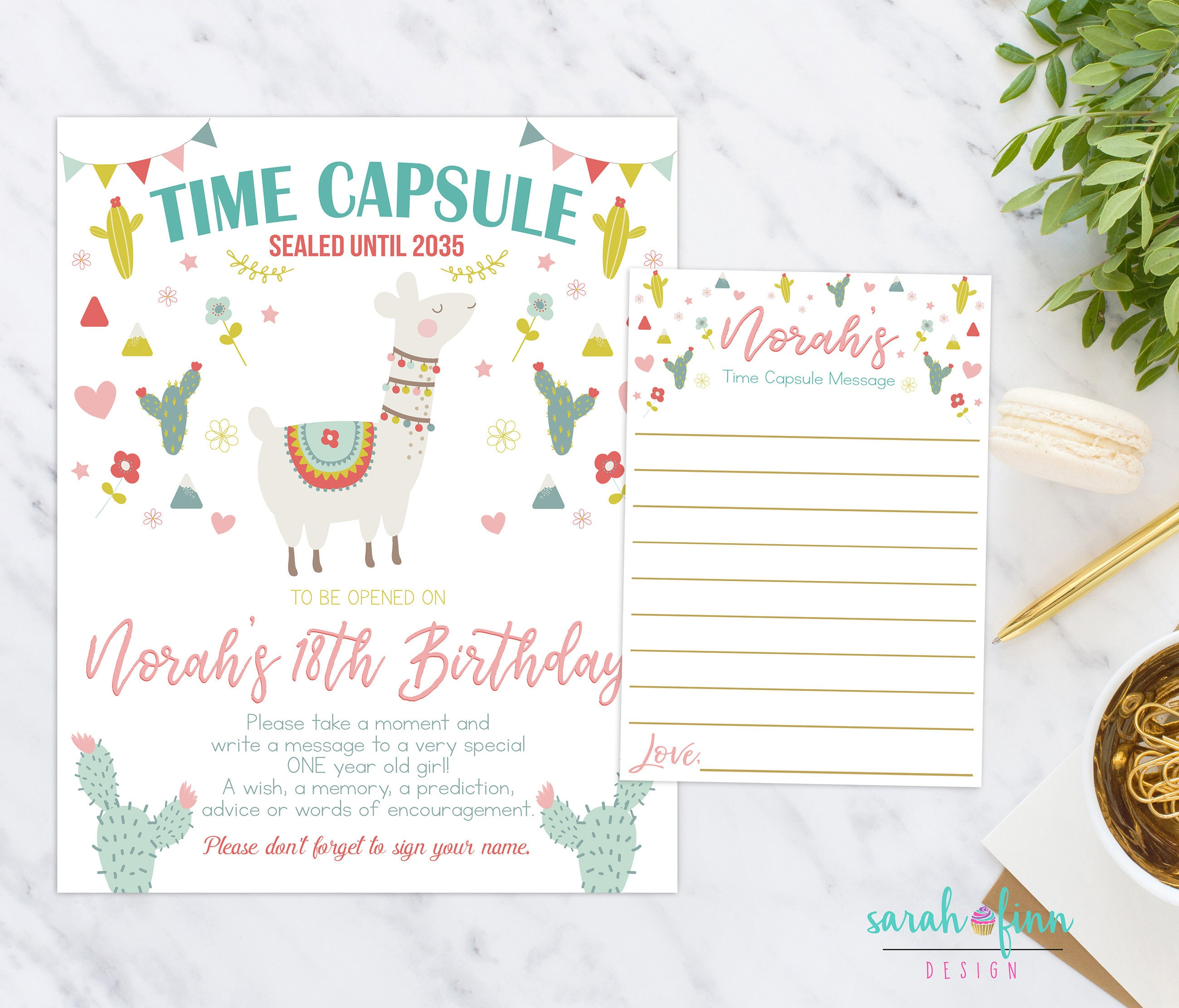 Personalised New Baby Or Birthday Card By Mint Nifty: Llama Fiesta Time Capsule First Birthday Printable Time