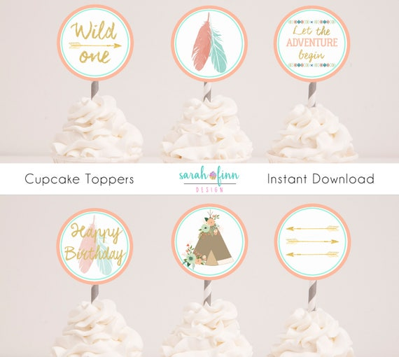 Wild One Birthday Cupcake Toppers Tribal Party Decor Boho