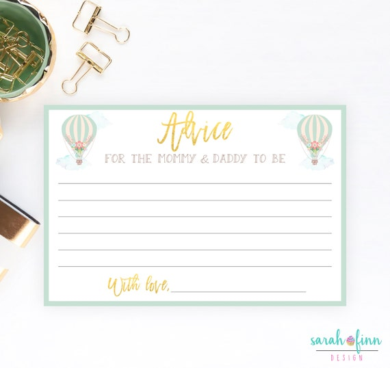 Advice Cards Baby Shower Advice Card Instant Download New Etsy