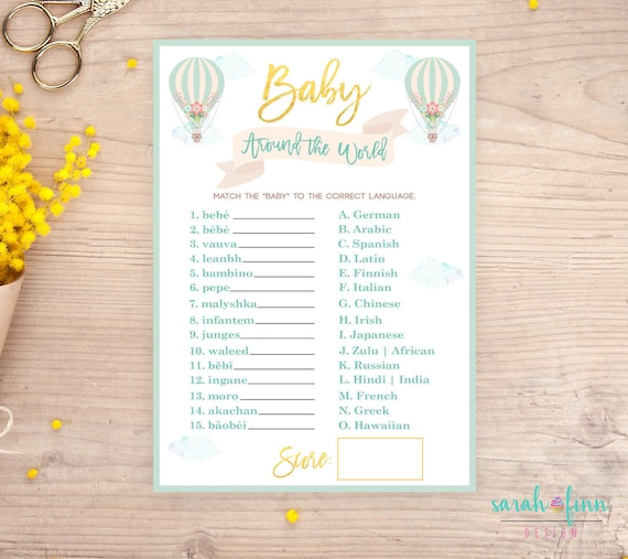Baby Shower Games Instant Download Printable Hot Air Balloon Etsy
