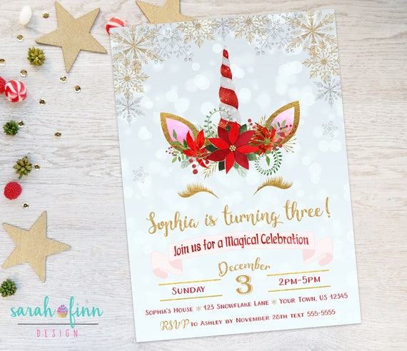 christmas unicorn birthday invitation christmas winter unicorn etsy