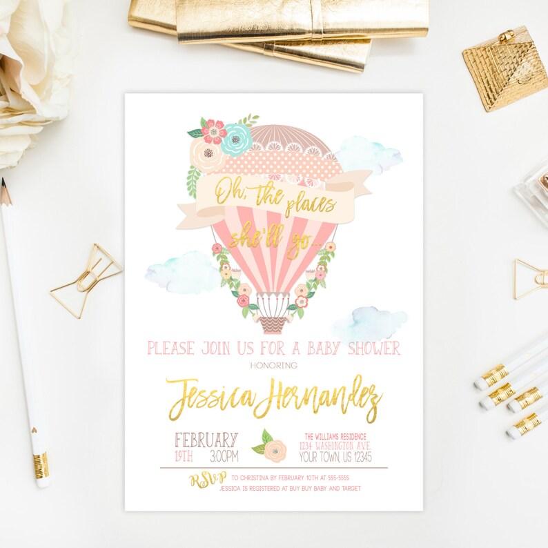 Hot Air Balloon Baby Shower Invitation Girl Pink Gold Balloon image 0