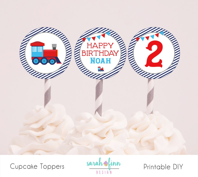 Train Birthday Cupcake Toppers Printable 2 Second Chugga