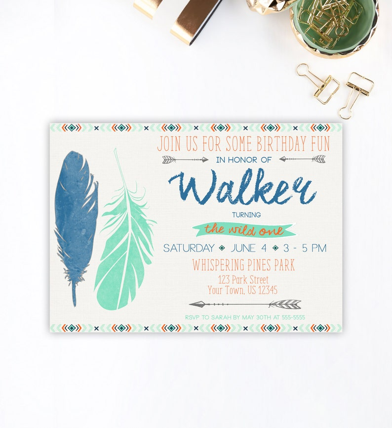 Wild One Birthday Invitation First Boho
