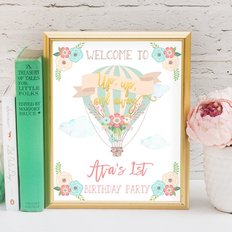 Birthday Sign Ups: Hot Air Balloon Birthday Welcome Sign Up Up And Away