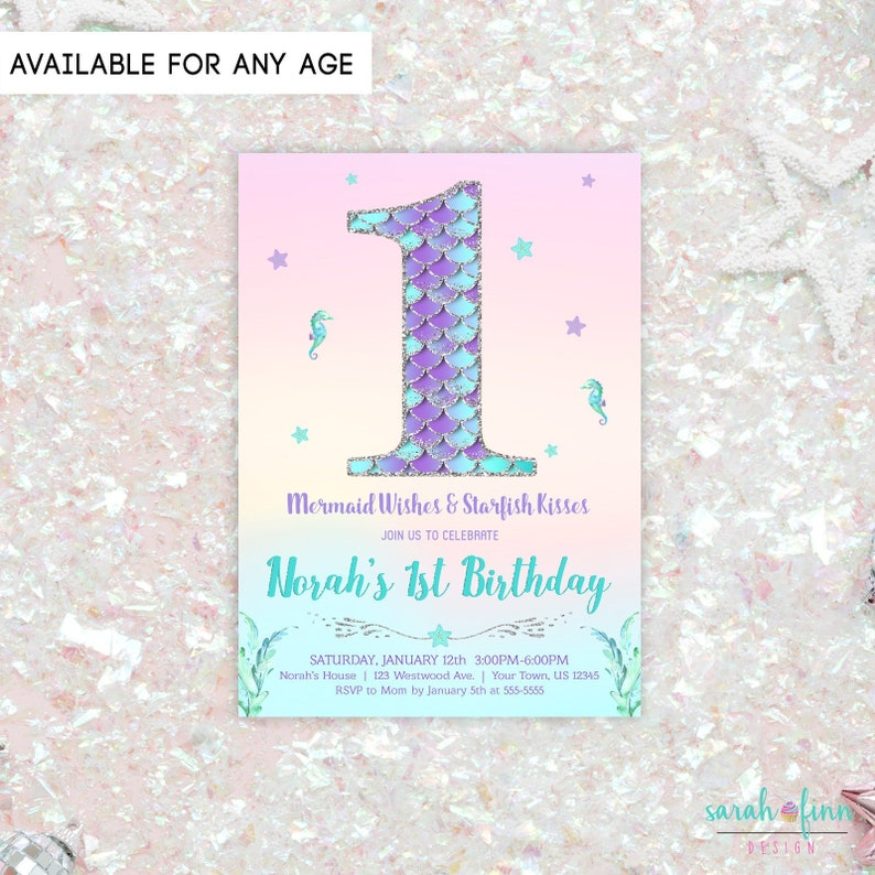 Mermaid Invitation Birthday Party Number