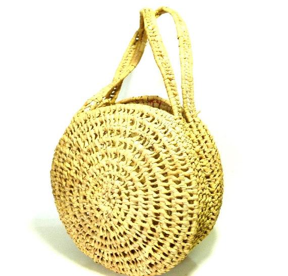 French Vintage Round Straw Bag / Vintage Handmade