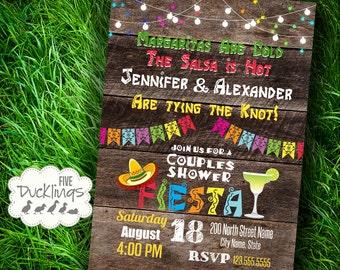 Fiesta Couples Shower Invitation, Mexican party Invite, Printable Digital Invitation, A358