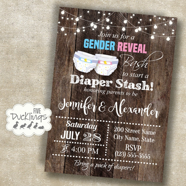 Gender Reveal Diaper Party Invitation Couples Shower Invite Baby Printable Digital A343