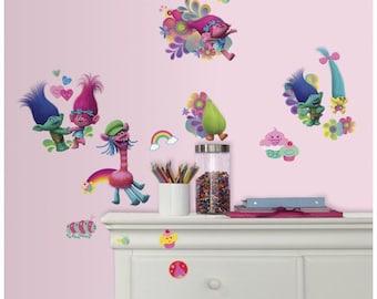 Dreamworks trolls birthday/bedroom stick and peel wall decal decor