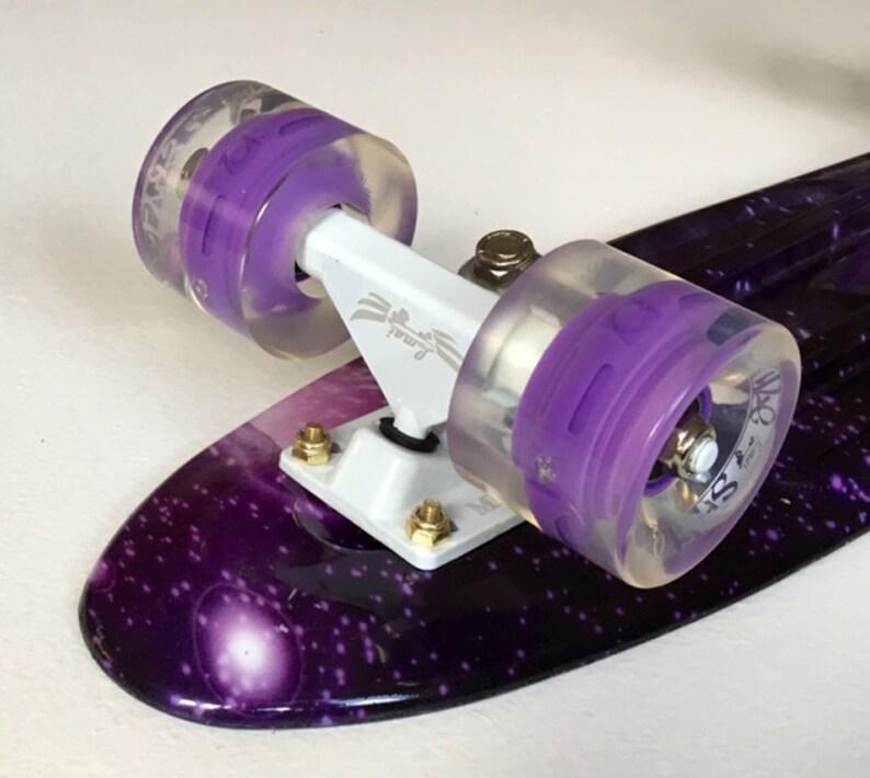 22 Mini Cruiser Skateboard Graphic Galaxy Purple Starry Board Lmai Complete Skateboard