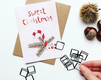 Merry Christmas // Greeting Card, Postkarte, Frohe, Weihnachten, Karte, Grusskarte, Briefumschlag, Geschenk, Botschaft, Brief