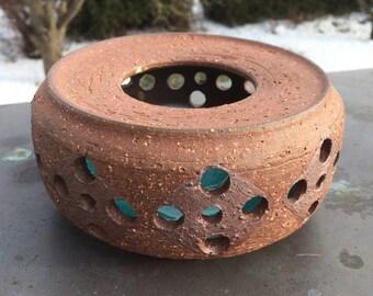Retro ceramic candle warmer candle holder/ brown rustic turquoise / Elsi Margareta Bourelius / Sweden Scandinavian 70s, 80s