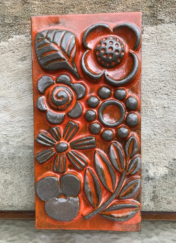 Wall Art Swedish Orange Ceramic Plaque Relief Tile Fleur Etsy