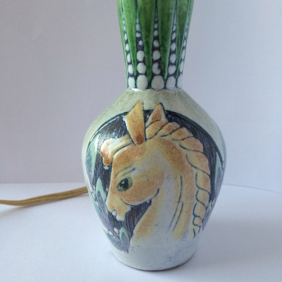Pottery Barn Horse Bit Lamp: Swedish Pottery Small Retro Ceramic Lamp Base / Horse And
