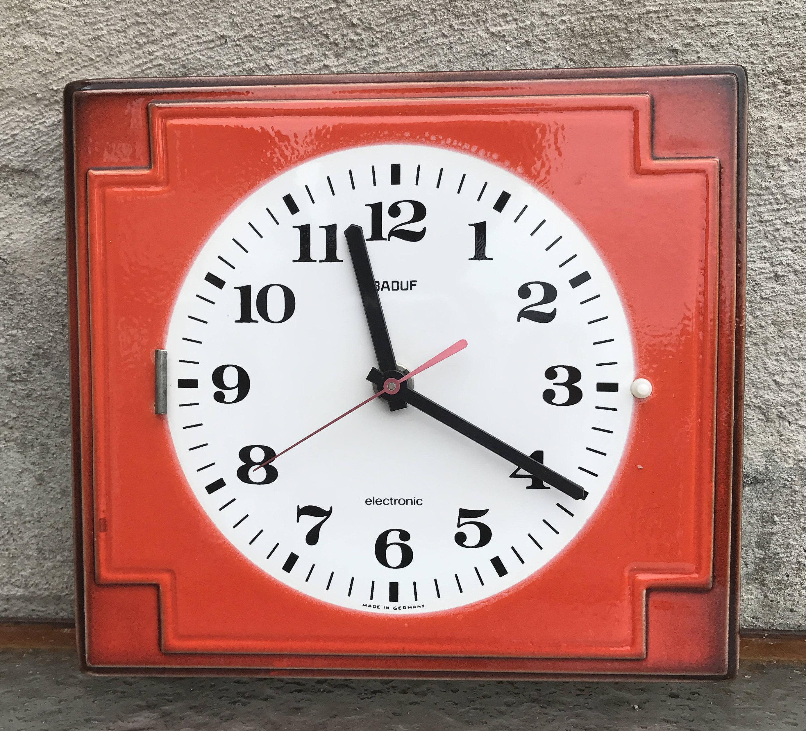 Retro German Orange Red Ceramic Kitchen Wall Clock Baduf