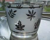 Libbey Silver Foliage Ice Bucket, Mid Century Glass Ice Bucket, Silver Leaf Barware