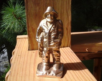 Solid Brass Fisherman Statue, Old Man of the Sea Heavy Brass Figure, Bookend, Doorstop