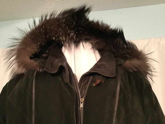 Man's Hooded Suede Parka Jacket from Spain, Large