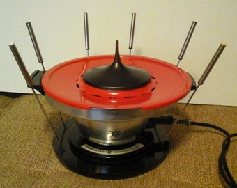 Electric Fondue Set, Orange Presto Automatic Foundue, Electric Tempura
